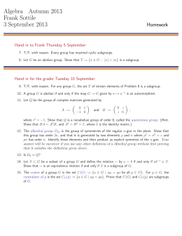 Algebra Autumn 2013 Frank Sottile 3 September 2013 Homework