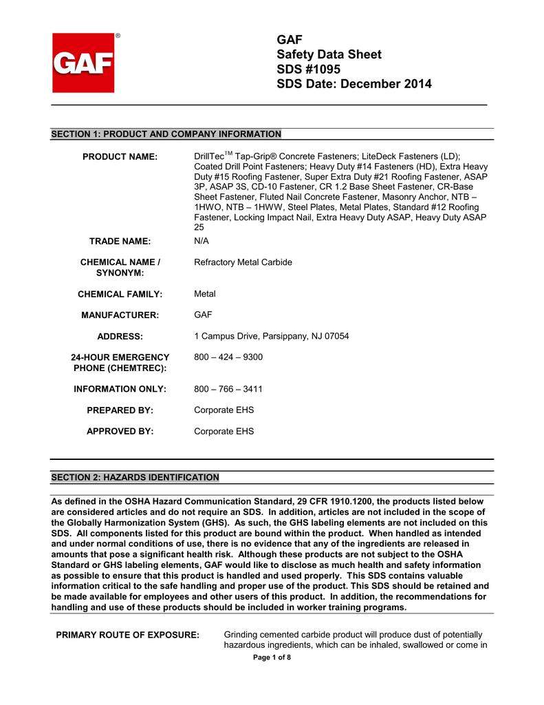 Gaf Safety Data Sheet Sds 1095 Sds Date December 2014