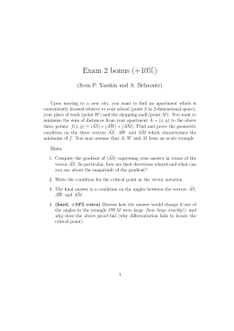 Exam 2 bonus (+10%) (from P. Yasskin and A. Belmonte)