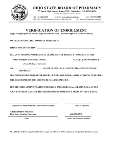 OHIO STATE BOARD OF PHARMACY VERIFICATION OF ENROLLMENT