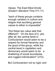 "Values: The East-West Divide Eastern Standard Time  ""each of these groups contains"