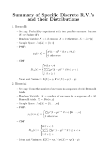 Summary of Specific Discrete R.V.'s and their Distributions 1. Bernoulli
