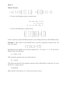 Sheet 2 Matrix Practice  