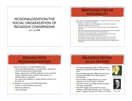 IRRATIONALITIES OF RATIONALITY MCDONALDIZATION/THE SOCIAL ORGANIZATION OF