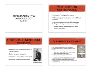 WHY MORE THAN ONE PERSPECTIVE? THREE PERSPECTIVES ON SOCIOLOGY