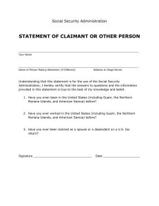 STATEMENT OF CLAIMANT OR OTHER PERSON Social Security Administration