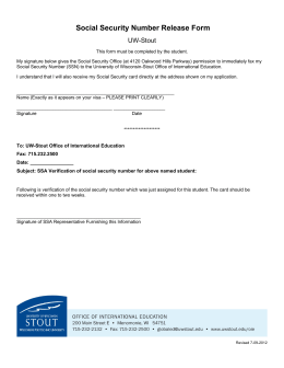 Social Security Number Release Form UW-Stout