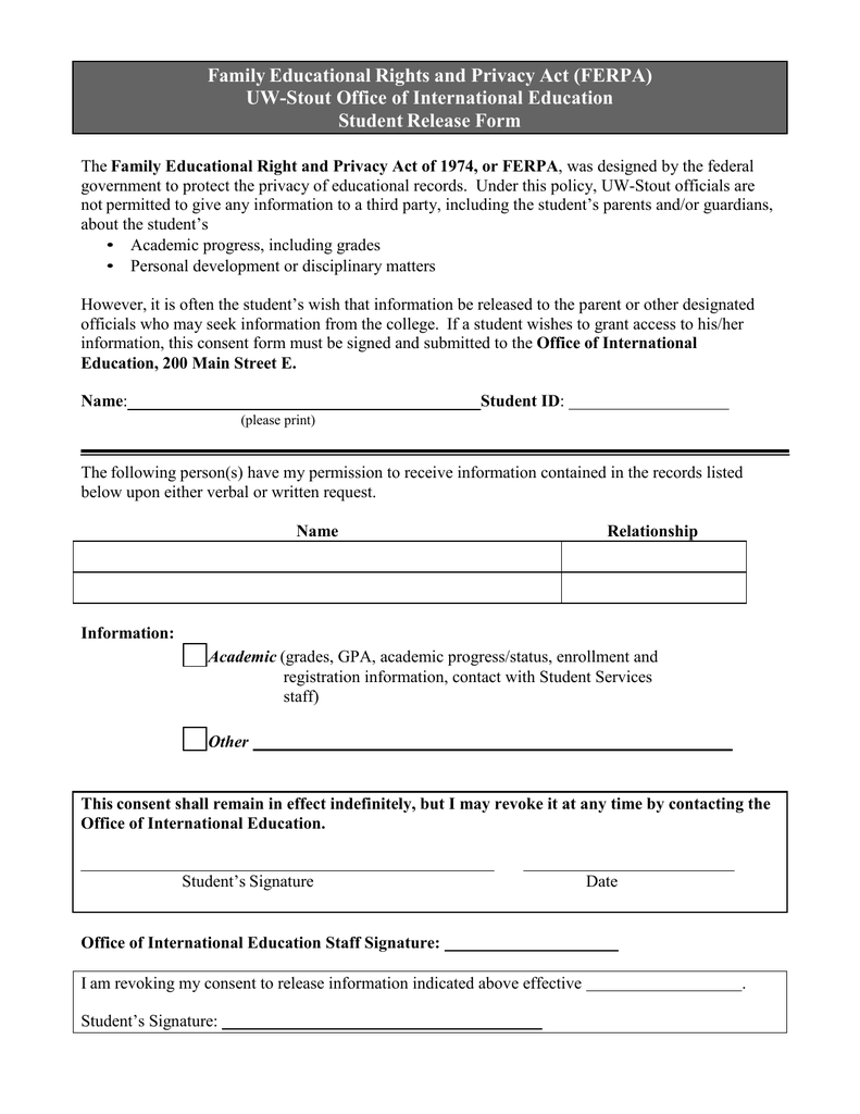 ferpa release form  Family Educational Rights and Privacy Act (FERPA) Student ...