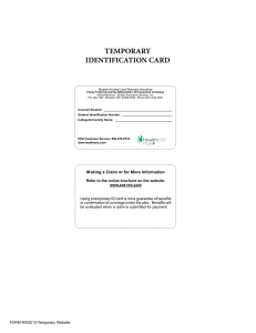 TEMPORARY IDENTIFICATION CARD Student Accident and Sickness Insurance