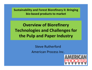 Overview of Biorefinery Technologies and Challenges for  the Pulp and Paper Industry Steve Rutherford