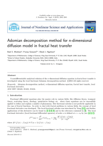 Adomian decomposition method for n-dimensional diffusion model in fractal heat transfer