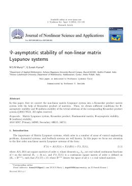 Ψ-asymptotic stability of non-linear matrix Lyapunov systems M.S.N.Murty , G.Suresh Kumar
