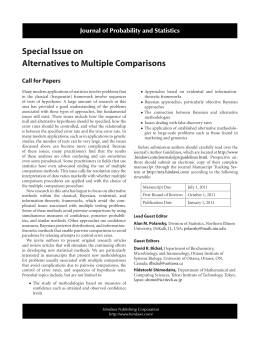Special Issue on Alternatives to Multiple Comparisons Journal of Probability and Statistics