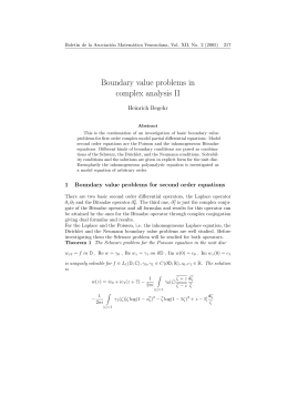 Boundary value problems in complex analysis II Heinrich Begehr Bolet´ın de la Asociaci´