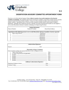 D-3 DISSERTATION ADVISORY COMMITTEE APPOINTMENT FORM