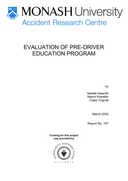 EVALUATION OF PRE-DRIVER EDUCATION PROGRAM by