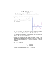 MAΘ Problem Set 1 The Mississippi School for Mathematics and Science