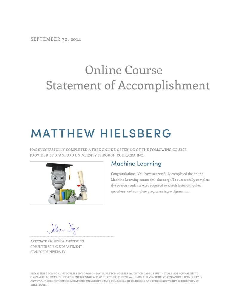 Online Course Statement of Accomplishment MATTHEW HIELSBERG