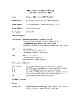 AHEC-SSW Training Partnership Consultant Information Sheet
