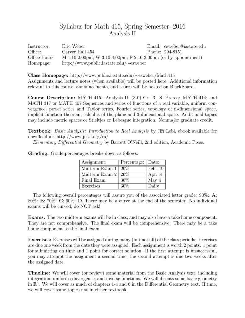 Syllabus for Math 415, Spring Semester, 2016 Analysis II