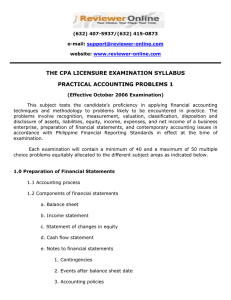 THE CPA LICENSURE EXAMINATION SYLLABUS PRACTICAL ACCOUNTING PROBLEMS 1