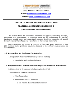 THE CPA LICENSURE EXAMINATION SYLLABUS PRACTICAL ACCOUNTING PROBLEMS 2