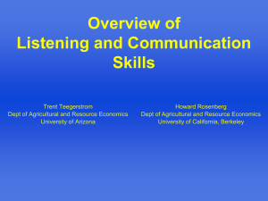 Overview of Listening and Communication Skills