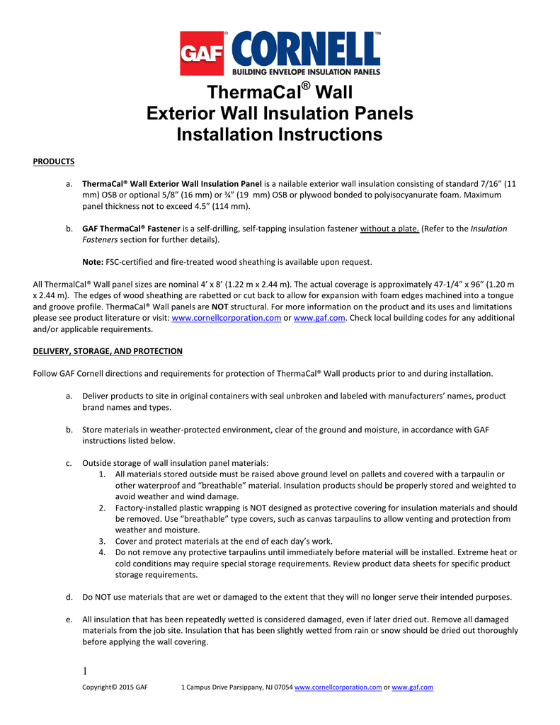 ThermaCal Wall Exterior Wall Insulation Panels