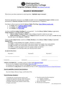 SEARCH WORKSHEET Longview Campus Library