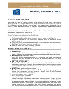 University of Wisconsin - Stout Protecting Against Mobile Malware