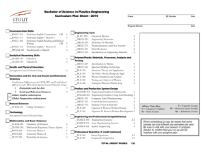 Bachelor of Science in Plastics Engineering Curriculum Plan Sheet - 2010