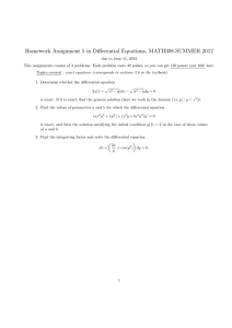 Homework Assignment 5 in Differential Equations, MATH308-SUMMER 2012