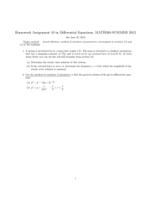 Homework Assignment 10 in Differential Equations, MATH308-SUMMER 2012