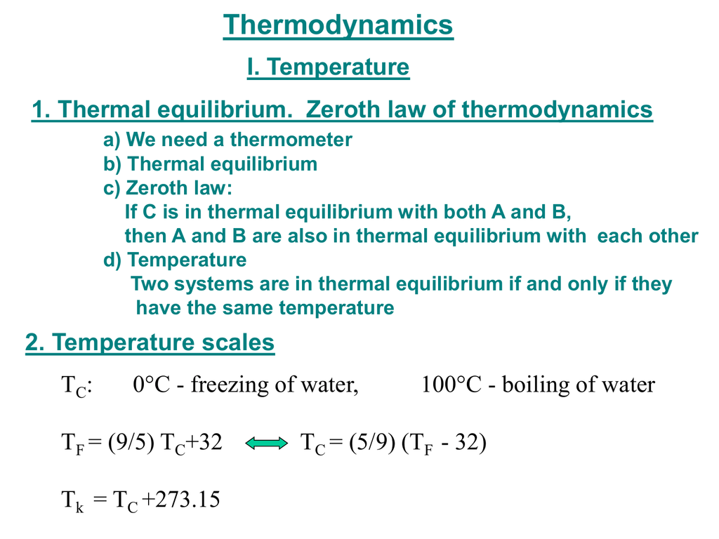 Thermodynamics I. Temp...
