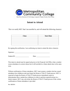Intent to Attend  Class Start Date
