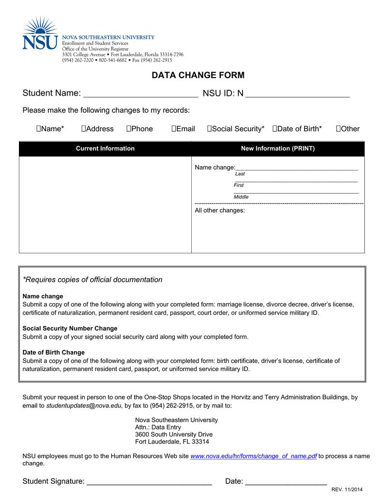 0b81fec26 DATA CHANGE FORM Student Name  NSU ID  N