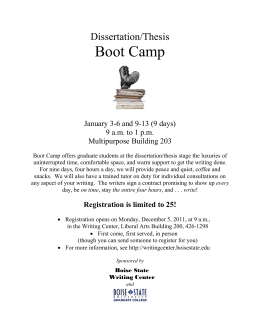 Boot Camp Dissertation/Thesis  January 3-6 and 9-13 (9 days)