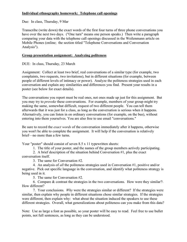 Individual ethnography homework: Telephone call openings