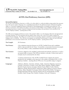 LTI  ACTFL Oral Proficiency Interview (OPI) The ACTFL Testing Office