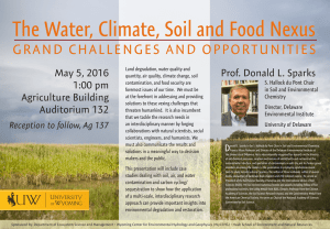 The Water, Climate, Soil and Food Nexus  GRAND CHALLENGES AND OPPORTUNITIES