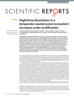 Nighttime dissolution in a temperate coastal ocean ecosystem increases under acidification