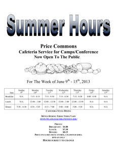 Price Commons Cafeteria Service for Camps/Conference  Now Open To The Public
