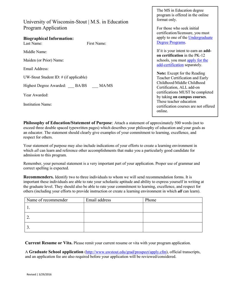 University Of Wisconsin Stout Ms In Education Program Application