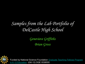 Samples from the Lab Portfolio of DelCastle High School Genevieve Griffiths Brian Gross
