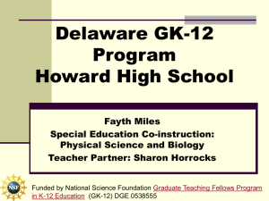 Delaware GK-12 Program Howard High School