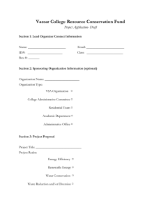 Vassar College Resource Conservation Fund Project Application- Draft
