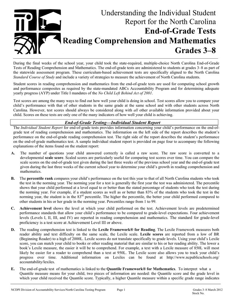 - End-of-Grade Tests Reading Comprehension And Mathematics Grades 3