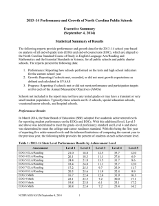 2013–14 Performance and Growth of North Carolina Public Schools Executive Summary