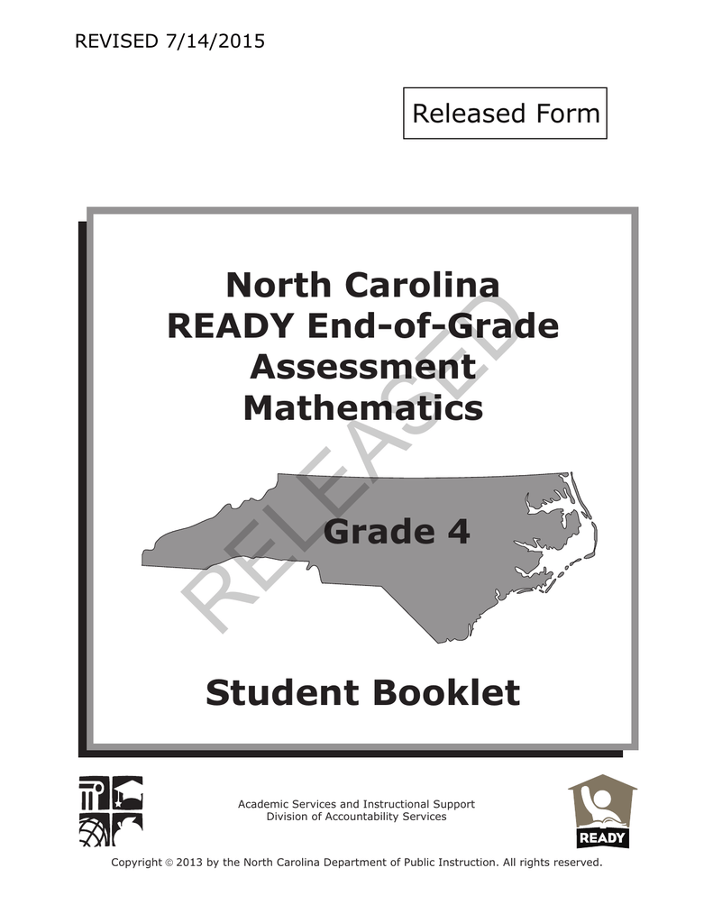 RELEASED Student Booklet North Carolina READY End-of-Grade