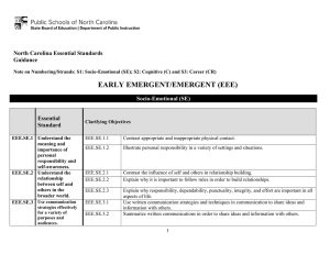 EARLY EMERGENT/EMERGENT (EEE)  North Carolina Essential Standards Guidance